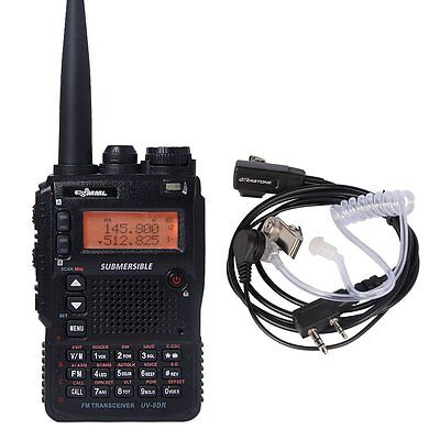 Submersible UV-8DR Tri-Band Two Way Amateur Radio Transceiver Walkie + Earpiece