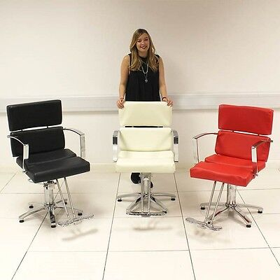 Hair Salon Styling Chair Hairdresser Barbers Black White Red Chrome Beauty