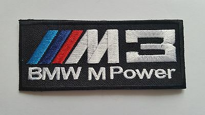 a MOTOR RACING CAR SPEED FESTIVAL SEW ON M3 M POWER BLACK IRON ON PATCH: