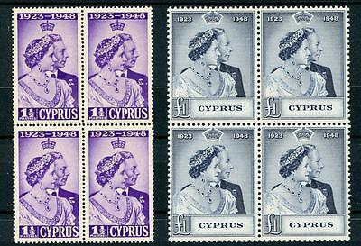 Cyprus 1948 Silver Wedding Set SG166/7 MNH blocks