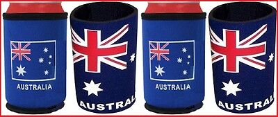 4 Australia Flag STUBBY COOLER HOLDERS Aussie Party BBQ Commonwealth Olympic