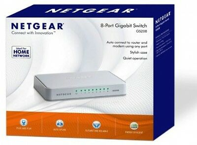 8 Port NETGEAR Gigabit Ethernet 10/100/1000 Mbps Home Network NO SETUP Switch