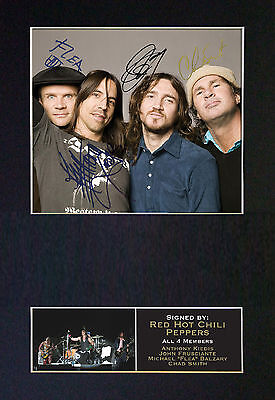 RED HOT CHILLI PEPPERS Signed Mounted Autograph Photo Prints A4 183