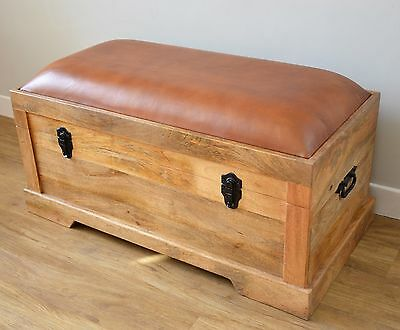 Wooden Storage Chest with Leather Seat