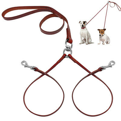 No Tangle Genuine Leather 2 Way Dog Leash Twin Coupler Lead For Two