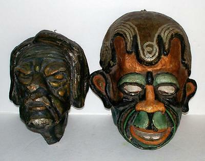 Vintage Halloween Paper Mache Mask Black Africa Tribal & 1700s Man Corpse