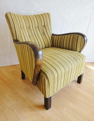 Retro Vintage Art Deco Danish Wool & Mahogany Lounge Club Arm Chair 1930s 40s