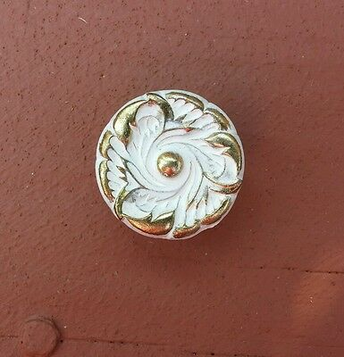 Vintage French Provincial Drawer Cabinet Knob Pull Handle - White/Goldtone - NOS