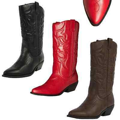 ce54f1edb61 NEW WOMENS WESTERN Cowboy Pointed Toe Knee High Pull On Tabs Boots Soda  RENO-S