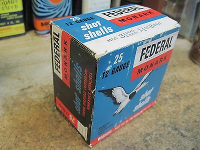FEDERAL MONARK EMPTY PAPER shot shell box 12 gauge No 8 shotgun DUCK original