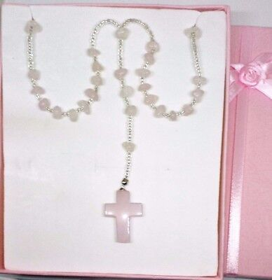 Rose Quartz Rosary beads necklace from casa dom inacio, blessed by John of God