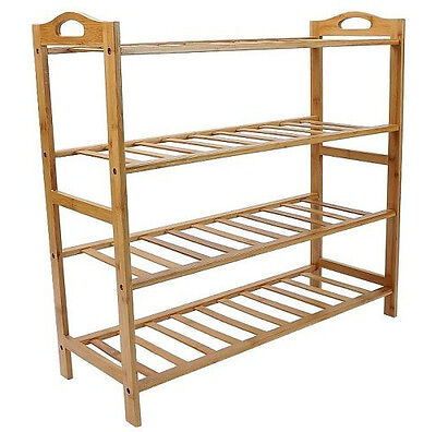 4 Tier Wooden Slatted Pure Bamboo Shoe Rack Shelf Shoes Organizer Stand