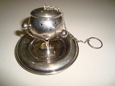 Antique Rare Sterling Silver Tea Infuser Ball Strainer with Stand