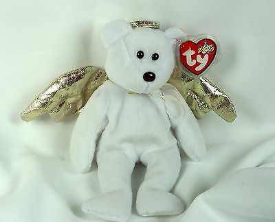 Ty Beanie Baby HALO II 2000 Angel Bear Plush Toy RARE BROWN NOSE NEW RETIRED 1e7f5abd2f0