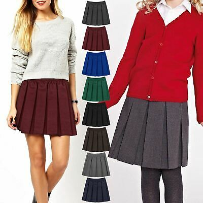Kids Girls Box Pleated Skirt School Uniform Dress Mini Skater Elasticated Waist