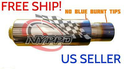 NYPPD Universal Polished Muffiler Stainless S. NO Blue Tip 3 in in|4.5 in out