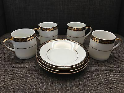 Yamasen Gold Collection Fine Porcelain 24 ct Gold Plated 4 Cups 3 Saucers Japan