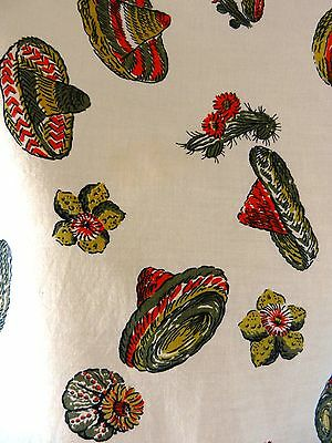 Vintage 40s 50s Southwestern Mexican Hat Cactus Novelty Print Curtain Fabric