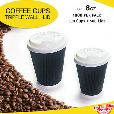 Disposable Coffee Cups 500 + Lids 500 Triple Wall 8 oz Take Away Bulk Paper Cups