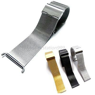 Steel Watch Mesh Band Strap Double Clasp Bracelet Replacement Band 18 20 22 24mm