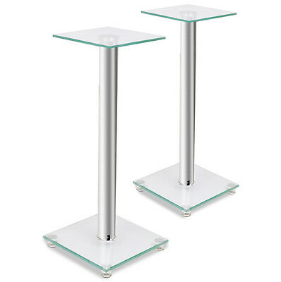 Glass Speaker Stands Pair Monitor Sound Speakers Modern Floor Stand Silver New