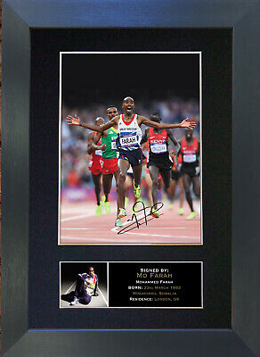 MO FARAH Olympic Star Signed Mounted Reproduction Autograph Photo Prints A4 273