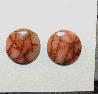 Painted Creek Jasper Cabochons 14.5mm with 4mm dome set of 2 (11203)