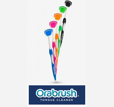 Orabrush Tongue Cleaner Brush With Scraper - BLUE BLACK ORANGE GREEN PINK colour