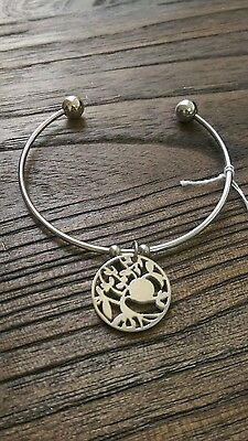Stainless Steel Silver Tree of Life Charm Cuff Bangle. charm can be hand stamped