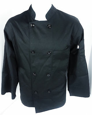 Dickies Mens XS Black Chef Coat Long Sleeve Shirt Work Costume 8 Button