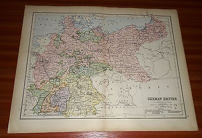 1878 GERMAN EMPIRE By BARTHOLOMEW Antique MAP WILLIAM COLLINS