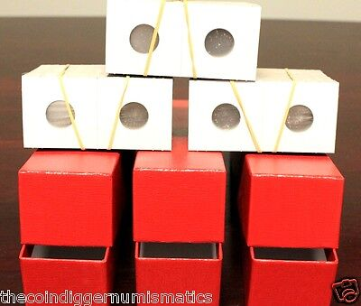 300 SMALL DOLLAR 2x2 Flips Mylar Cardboard Coin Holders + 3 Red Storage Boxes
