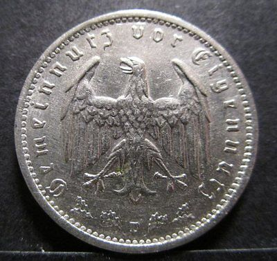 Third Reich - 1 Reichsmark Nickel Coin (1934 D) [Z60]