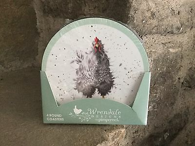 Wrendale Designs Farmyard Feathers Round Coasters Set Of 4