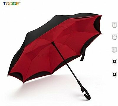 TOOGE Windproof Reverse Folding Double Layer Inverted Umbrella And Self Inside