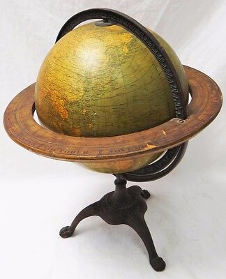 """Rare Vintage 1934 Weber Costello 12"""" Globe In Cast Iron Paw Foot Stand"""