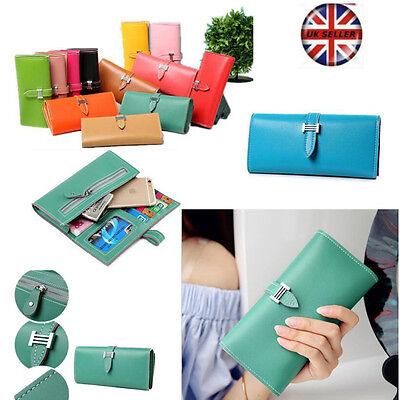Womens Lady Faux Leather Bifold Card Holder Clutch Bag Wallet Purse Case Gift