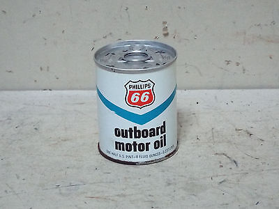 VINTAGE PHILLIPS 66 OUTBOARD MOTOR OIL METAL FULL 8oz CAN