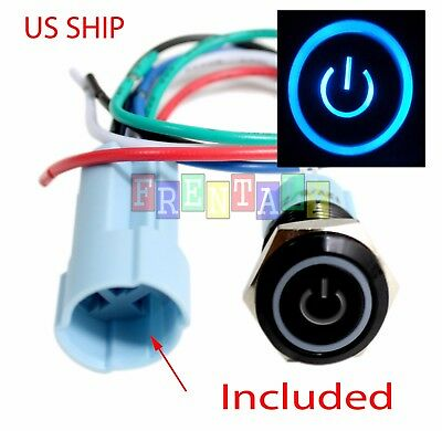 BSF 16mm Blue On Off LED 12V Latching Push Button Power Switch Waterproof