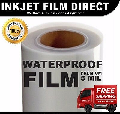 "5 MIL - Waterproof Inkjet Film Transparency 13"" X 100' 1-Roll"