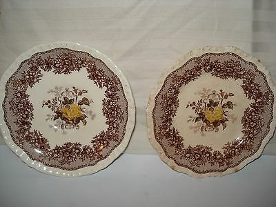 """Lot Of 2 Mason's Ascot Brown Multicolor (1) Bread/Butter Plate (1) Saucer 5-7/8"""""""