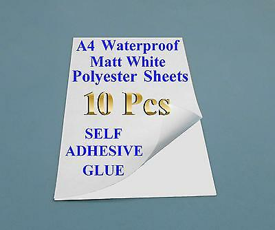 10 x A4 White Polyester Self Adhesive Sheets for Laser printers - decal - DIY