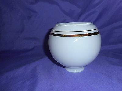 "Vintage Round White Glass Gold Band Trim Light Globe Shade 2"" Fitter Excellent"