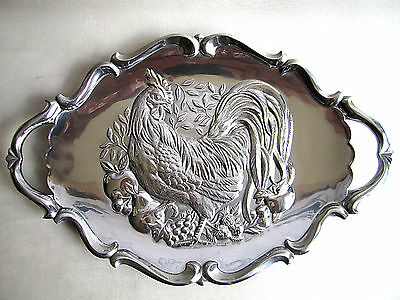 """Large 23"""" Lenox Rooster Chicken Silver Metal Serving Tray Thanksgiving"""