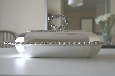 Silverplate Two Piece Covered Entree Dish Removable Handle