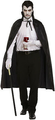 Mens Adult Halloween Long Black Cape Fits One Size - Dracula Vampire