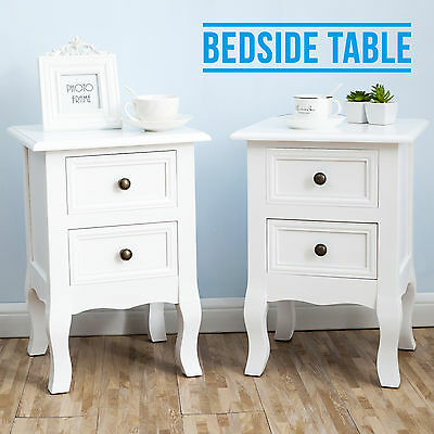 Pair of Bedside Table Unit Nightstand Wooden Cabinet Chest 2 Drawers Bedroom