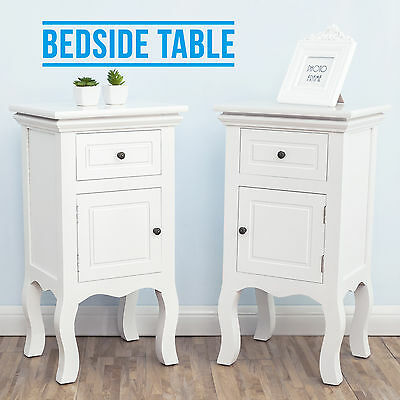 White Pair of Wooden Bedside Table Unit Cabinet 2 Drawers Nightstand Bedroom