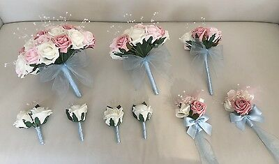 Wedding Package Artificial Flowers Rose Bouquets Pink Blue Ivory Bride Vintage