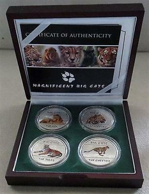 2011 Silver Republic Of Congo 30 Francs Big Cats Proof Four Coin Colorized Set